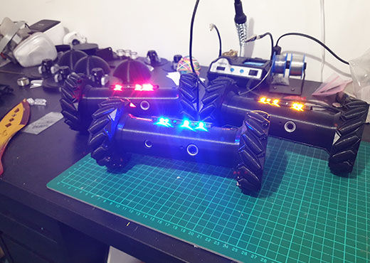 Recon Drone cosplay prop from Six Siege with red, yellow and blue lights
