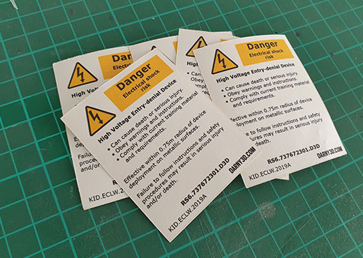 Kaid warning label from Rainbow Six Siege